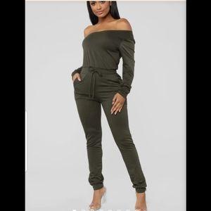Fashion Nova army green jumpsuit